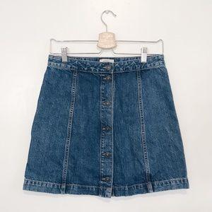 Loft Button Up High Waisted Denim Jean Skirt